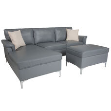 Boylston Upholstered Plush Pillow Back Sectional with Left Side Facing Chaise and Ottoman Set in Gray LeatherSoft