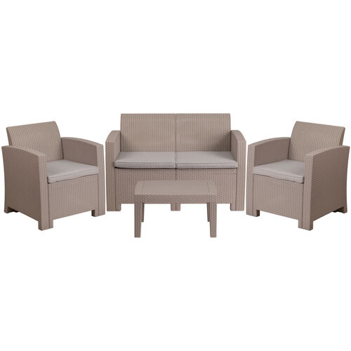Our 4 Piece Outdoor Faux Rattan Chair, Loveseat and Table Set in Light Gray is on sale now.