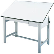 DesignMaster 4-Post Steel Drawing Table - White Top and Gray Base