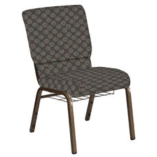 Embroidered 18.5''W Church Chair in Cirque Earth Fabric with Book Rack - Gold Vein Frame