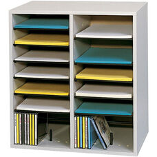 Adjustable Wooden Literature Organizer with Sixteen Compartments - Gray
