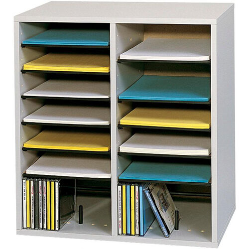 Our Adjustable Wooden Literature Organizer with Sixteen Compartments - Gray is on sale now.