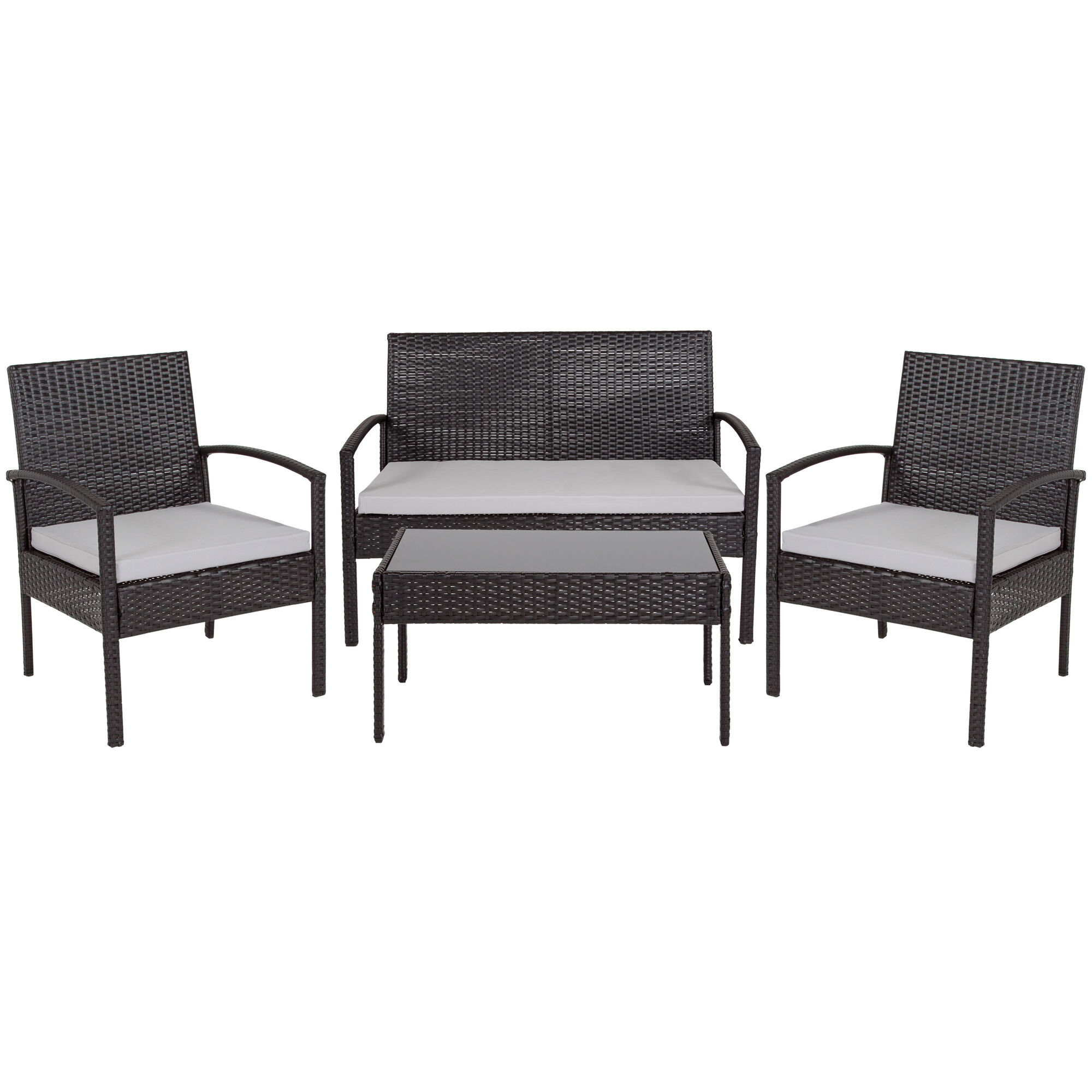 Amazing Aransas Series 4 Piece Black Patio Set With Steel Frame And Gray Cushions Download Free Architecture Designs Grimeyleaguecom