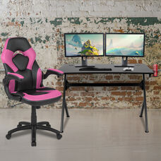 BlackArc Black Gaming Desk and Pink/Black Racing Chair Set with Cup Holder, Headphone Hook & 2 Wire Management Holes