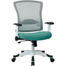 Space Pulsar Managers Office Chair with Fabric Padded Seat - Dove Jade with White Frame