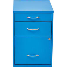 OSP Designs 3-Drawer Storage Cabinet with Locking Filing Drawer - Blue