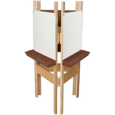 3-Sided Adjustable Art Easel with Markerboard and Brown Trays - 24