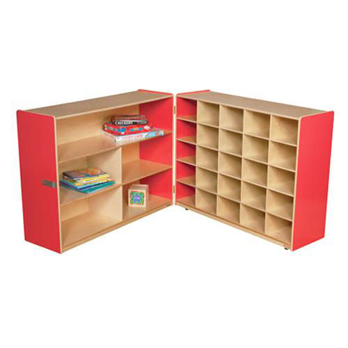 Our Half & Half Red Storage Shelf Unit with Rolling Casters and Twenty Five Cubbies - 96