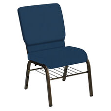 Embroidered HERCULES Series 18.5''W Church Chair in E-Z Wallaby Royal Vinyl with Book Rack - Gold Vein Frame