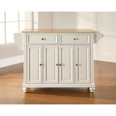 Natural Wood Top Kitchen Island with Cambridge Style Feet - White Finish