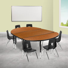 """76"""" Oval Wave Collaborative Laminate Activity Table Set with 14"""" Student Stack Chairs, Oak/Black"""