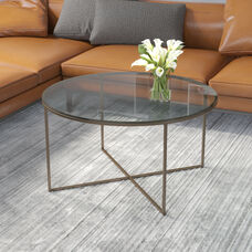 Greenwich Collection Coffee Table - Modern Clear Glass Accent Table with Crisscross Matte Gold Frame