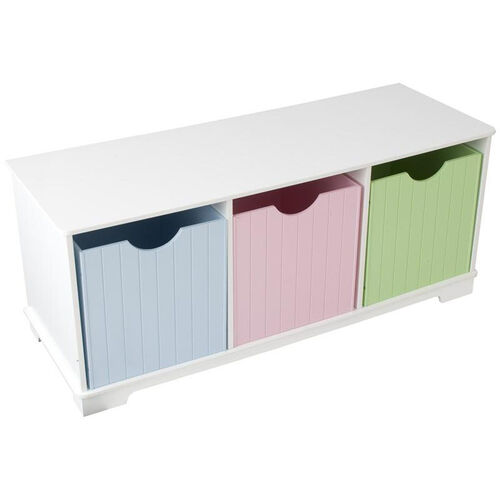 Our Nantucket Wooden Childs Three Storage Bins with Bench Seating - Pastel is on sale now.