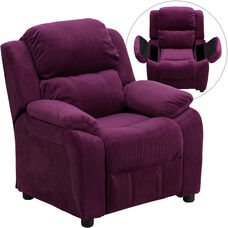 Deluxe Padded Contemporary Purple Microfiber Kids Recliner with Storage Arms