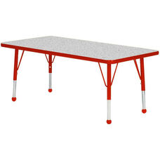 Adjustable Standard Height Laminate Top Rectangular Activity Table - Nebula Top with Red Edge and Legs - 60