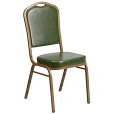 HERCULES Series Crown Back Stacking Banquet Chair in Green Vinyl - Gold Frame