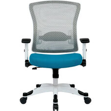Space Pulsar Managers Office Chair with Mesh Padded Seat - Blue with White Frame