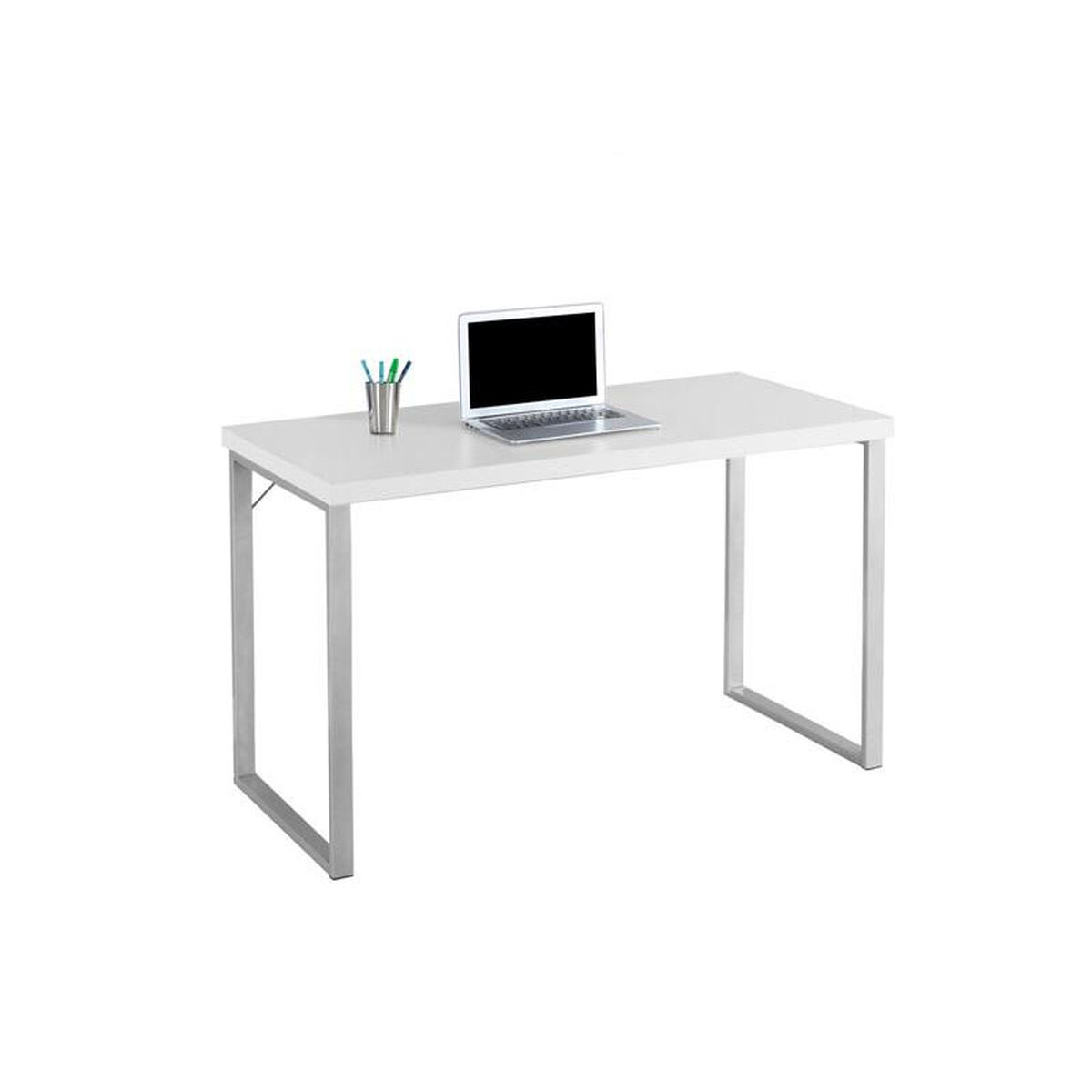 Our Sleek 48 W Computer Desk With Silver Metal Frame White Is On