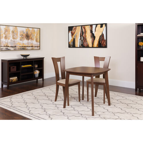 Our Exeter 3 Piece Walnut Wood Dining Table Set with Slotted Back Wood Dining Chairs - Padded Seats is on sale now.