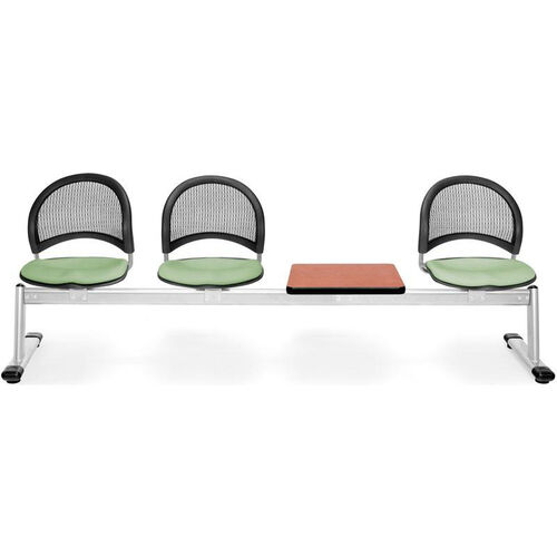Our Moon 4-Beam Seating with 3 Sage Green Fabric Seats and 1 Table - Cherry Finish is on sale now.