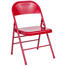 HERCULES Series Triple Braced & Double Hinged Red Metal Folding Chair