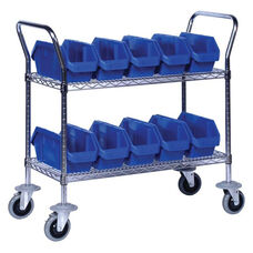 Quick Pick Two Shelf Mobile Cart with Ten 12.5