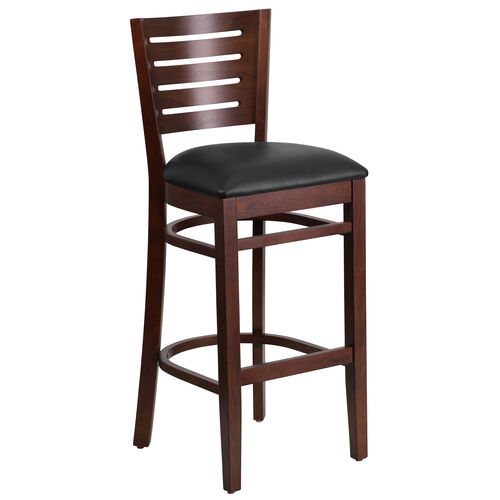 Our Walnut Finished Slat Back Wooden Restaurant Barstool with Black Vinyl Seat is on sale now.