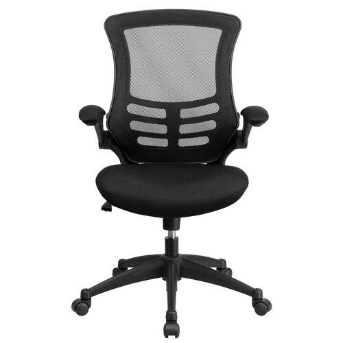 Basics Ergonomic Mid-Back Mesh Swivel Task Office Chair with Flip-Up Arms, Black