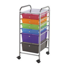 6 Drawer Chrome Frame Storage Cart with Deep Drawer - Multicolor