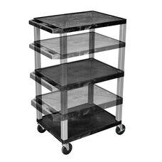 Black Adjustable Height Utility Cart with Nickel Legs