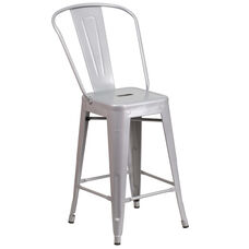 "Commercial Grade 24"" High Silver Metal Indoor-Outdoor Counter Height Stool with Back"