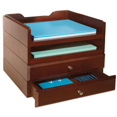 Bindertek Wood Stacking Desktop Organizer with 2 Trays and 2 Drawers - Mahogany
