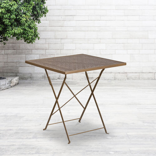 "Our Commercial Grade 28"" Square Gold Indoor-Outdoor Steel Folding Patio Table is on sale now."