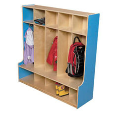 Blueberry 5-Section Seat Locker with Two Coat Hooks in Each Section - Assembled - 48