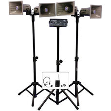 Wireless Quad Horn Half-Mile 50 Watt Hailer Kit with Wireless Headset and Lapel Microphone - 12.5