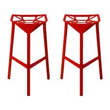 Geometric Red Powder Coat Aluminum Barstool - Set of 2