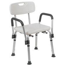 HERCULES Series 300 Lb. Capacity, Adjustable White Bath & Shower Chair with Depth Adjustable Back