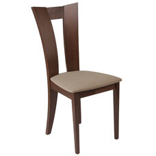 Talbot Walnut Finish Wood Dining Chair with Slotted Back and Magnolia Brown Fabric Seat