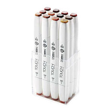 ShinHan Art TOUCH Twin Brush 12-Piece Wood Colors Marker Set
