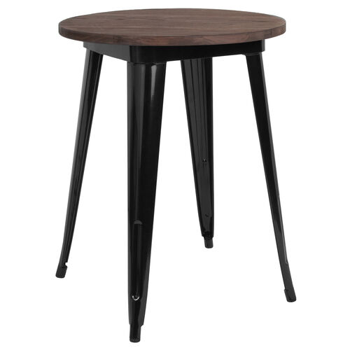 """Our 24"""" Round Black Metal Indoor Table with Walnut Rustic Wood Top is on sale now."""
