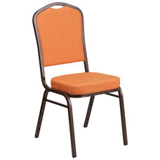 HERCULES Series Crown Back Stacking Banquet Chair in Orange Fabric - Copper Vein Frame