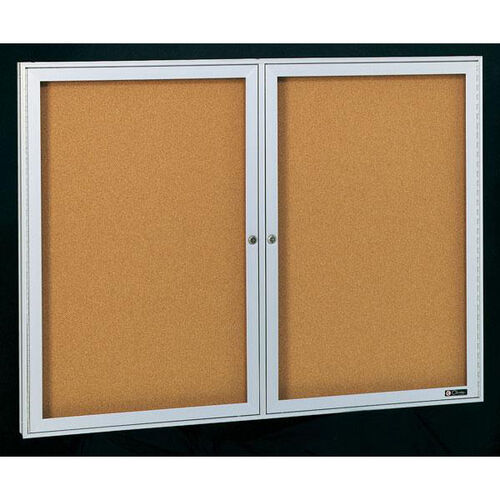 Deluxe 2 Door Bulletin Board Cabinet with Tan Nucork Back Panel - 60
