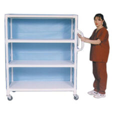 3-Shelf Jumbo Linen Cart with Mesh Cover and Casters - 24