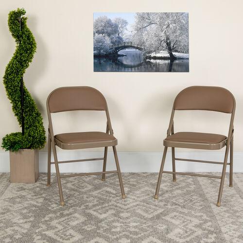 Our HERCULES Series Double Braced Beige Vinyl Folding Chair is on sale now.