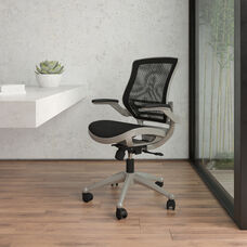 Mid-Back Transparent Black Mesh Executive Swivel Office Chair with Graphite Silver Frame and Flip-Up Arms