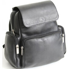 Knapsack with Magnetic Snap Flap - Colombian Vaquetta Leather - Black