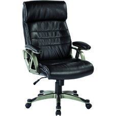 Work Smart Executive Eco Leather Chair with Titanium Finish Coated Nylon Base and Adjustable Arms - Black