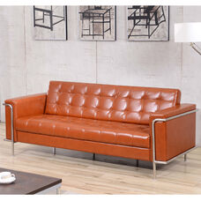 HERCULES Lesley Series Contemporary Cognac LeatherSoft Sofa with Encasing Frame