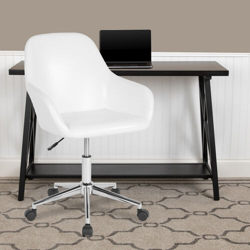 Cortana Home and Office Mid-Back Chair in White LeatherSoft