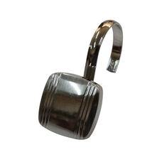 Captain 12 Piece Metal Modern Decorative Shower Hooks - Brushed Nickle